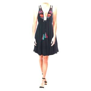 NWOT Free People embroidered knit empire dress